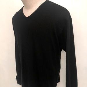 J Crew Men's Black V Neck Wool Sweater Size XL